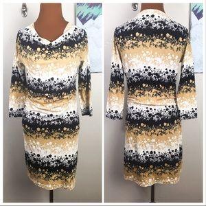 PATAGONIA floral print 3/4 sleeve dress, cowl neck